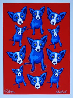 Original Group Therapy Red - Remarqued Signed Silkscreen Blue Dog Print