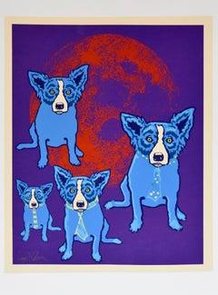 Original Hand-Embellished Red Moon - Unique Blue Dog