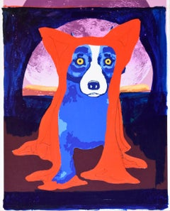 Original - Hiding From the Moon - Concept Piece - Signed MM -Blue Dog