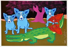 Original - Later Gator with Pink Tree - Unique - Signed Silkscreen - Blue Dog