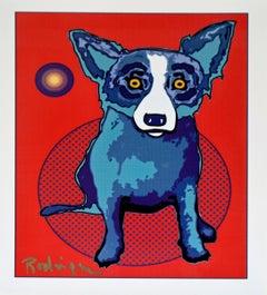 Original Untitled 95B5500 8884 Silkscreen on Mylar - Signed Blue Dog
