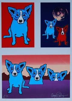 Original Untitled Proof Red Eyes - Signed Remarqued Blue Dog