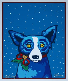 Paper, Ribbons and Me - Signed Silkscreen Print Blue Dog Holiday Print Sale