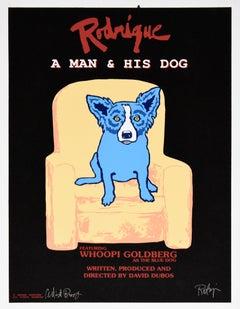 Rodrigue: A Man And His Dog Black - Signed Silkscreen Print Blue Dog