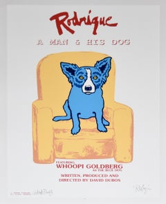 Rodrigue: A Man And His Dog White - Signed Silkscreen Print Blue Dog