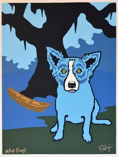 Row With Me Henry - Signed Silkscreen Print Blue Dog