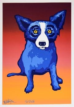 Second Line Split Font - Signed Silkscreen Print Blue Dog