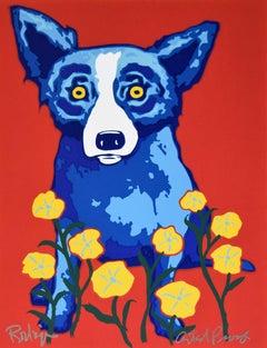 See How My Garden Grows - Signed Silkscreen Print Blue Dog