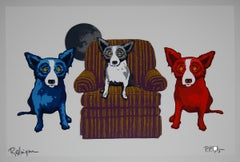 Sitting With My Sisters White - Signed Silkscreen Blue Dog Print