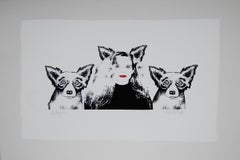 Soul Mates Black and White- Signed Silkscreen Blue Dog Print