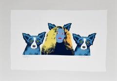 Soul Mates - Variant 3 - Signed Silkscreen Print Blue Dog