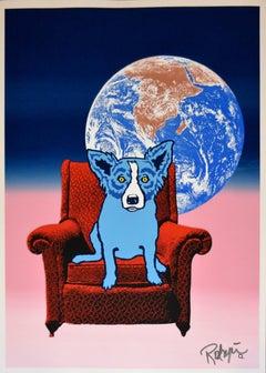 Space Chair - Split Font - Blue Pink 1 - Silkscreen Signed Print