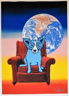 Space Chair - Split Font - Green Yellow 1 - Signed Silkscreen Print - Blue Dog