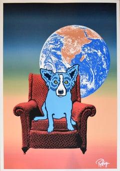 Space Chair - Split Font - Green Yellow 2 - Signed Silkscreen Print - Blue Dog