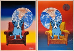 Space Chair - Strato Lounger Combination - Signed Silkscreen Print - Blue Dog