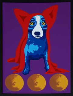 Space Traveler Black Border - Signed Silkscreen Blue Dog Print