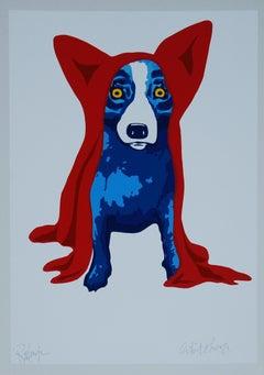 Space Traveler White - Signed Silkscreen Print Blue Dog