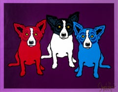 Spilt Personality, Blue Dog Series, 3 Dogs, Red, Blue, Black, White & Purple