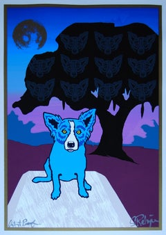 Spirits In The Trees Split Font Lilac - Signed Silkscreen Blue Dog Print