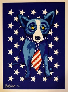Star Spangled Blue Dog - Signed Silkscreen Print Blue Dog