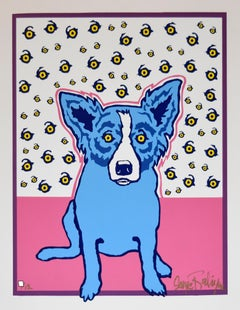 Starry Starry Eyes White/Pink - Signed Silkscreen Print Blue Dog