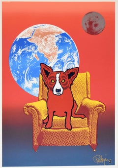 Strato Lounger Split Font with Red Dog - Signed Silkscreen Print Blue Dog