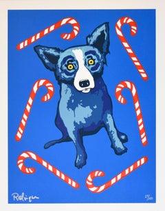 Sweet Like You - Signed Silkscreen Print Blue Dog Holiday Print Sale