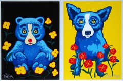 Sweetheart Memories - Black Yellow - Bear Dog - Signed Silkscreen Print