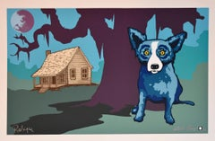 The House My Daddy Built with Moon - Signed Silkscreen Print Blue Dog