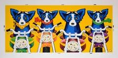 The Rat Pack - Yellow - Signed Silkscreen Print Blue Dog