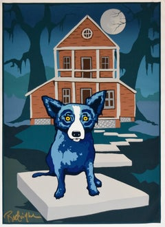 This Old House On Canvas - Signed Silkscreen on Canvas Blue Dog
