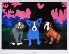 Three Amigos - Signed Silkscreen Blue Dog Print