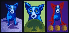 Three D - Signed Silkscreen Blue Dog Print