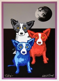 Three's A Crowd - Signed Silkscreen Print Blue Dog