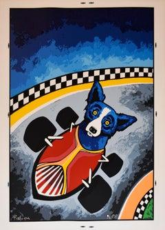 Thunder Road - Signed Silkscreen Print Blue Dog
