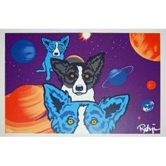 Tiffany's Universe - Signed Silkscreen Print Blue Dog