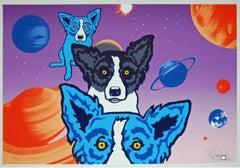 Tiffany's Universe - Split Font - Signed Silkscreen Print Blue Dog
