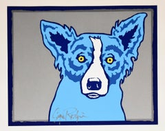 Top Dog Silver - Signed Silkscreen Print - Blue Dog