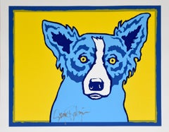 Top Dog Yellow - Signed Silkscreen Print Blue Dog