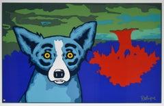 Topsy Turvy - Signed Silkscreen Blue Dog Print