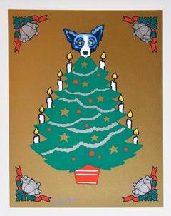 Tree Topper - Signed Silkscreen Print Blue Dog Holiday Print Sale