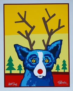 Truly Rudy - Signed Silkscreen Print Blue Dog Holiday Print Sale