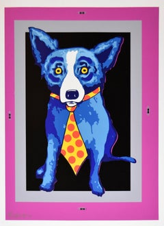 Untitled Blue Dog w/ Tie - Magenta, Gray & Black Background - Signed Silkscreen