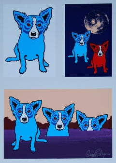 Untitled Blue Dog With Red Eyes - Signed Silkscreen Blue Dog Print