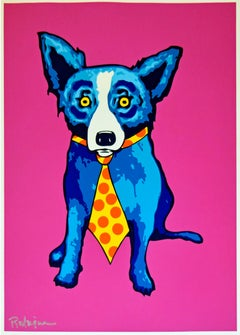 Untitled Blue Dog with Tie - Magenta Background - Silkscreen Signed Print
