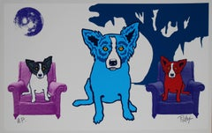 Waiting For My TV Dinner White - Signed Silkscreen Blue Dog Print