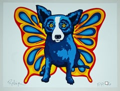 Wings Of the Dog White - Signed Silkscreen Blue Dog Print