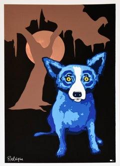 Y-Moon Black - Signed Silkscreen Print Blue Dog
