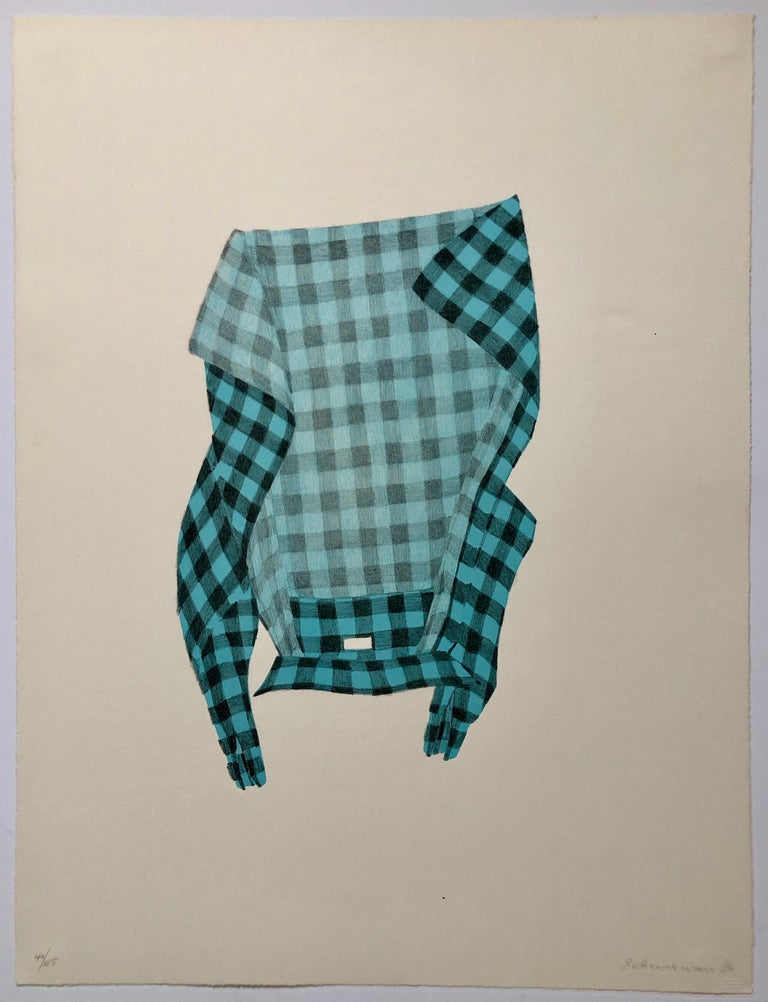 Untitled Still Life Hanging Plaid Shirt, Figurative Poetry Lithograph - Print by George Schneeman