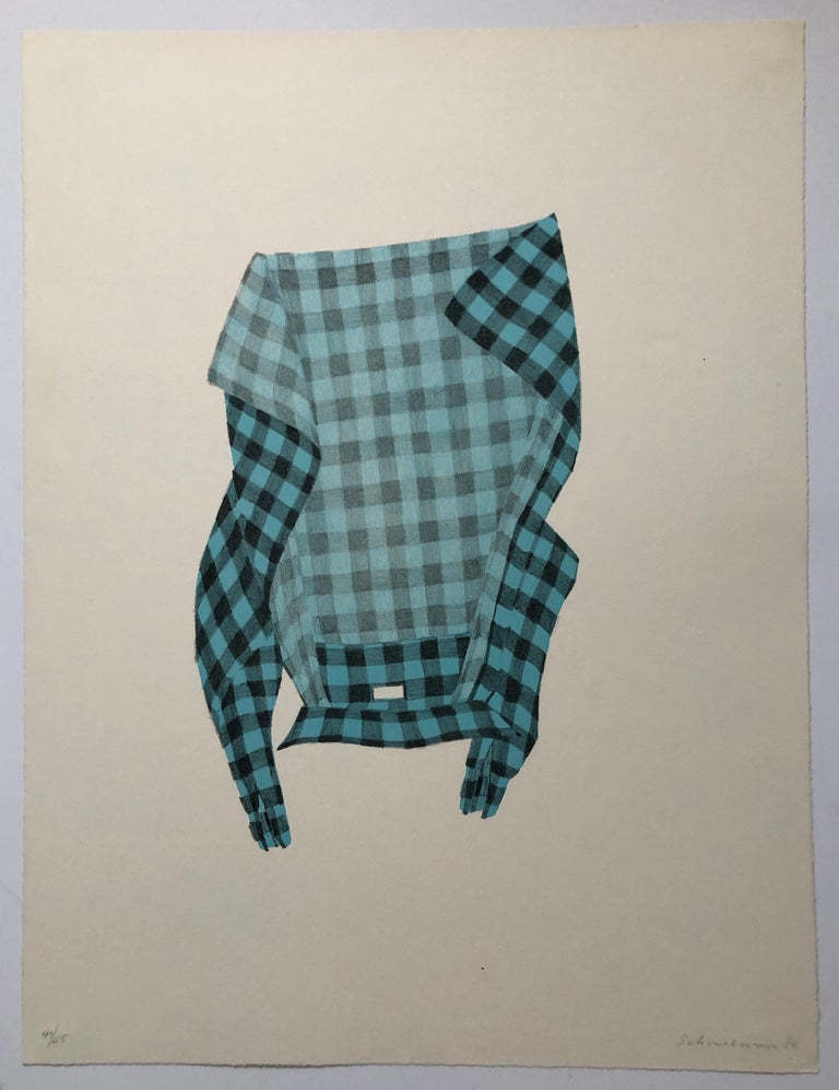Untitled Still Life Hanging Plaid Shirt, Figurative Poetry Lithograph - American Modern Print by George Schneeman